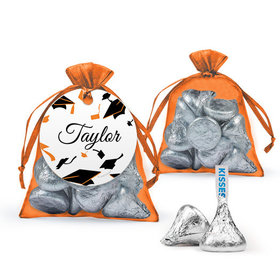 Personalized Orange Graduation Favor Assembled Organza Bag Filled with Hershey's Kisses