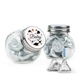 Personalized Orange Graduation Favor Assembled Mini Side Jar Filled with Hershey's Kisses