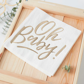 Oh Baby! Napkins - Gold