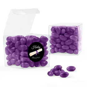 Personalized Purple Graduation Favor Assembled Clear Box Filled with Just Candy Jelly Beans
