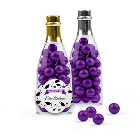 Personalized Purple Graduation Favor Assembled Champagne Bottle Filled with Sixlets