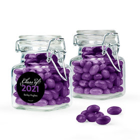 Personalized Purple Graduation Favor Assembled Swing Top Square Jar Filled with Just Candy Jelly Beans