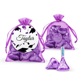 Personalized Purple Graduation Favor Assembled Organza Bag Filled with Hershey's Kisses