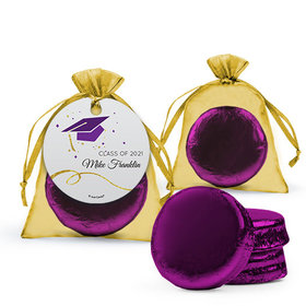 Personalized Purple Graduation Favor Assembled Organza Bag Hang tag Filled with Chocolate Covered Oreo Cookie
