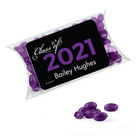 Personalized Purple Graduation Favor Assembled Pillow Box Filled with Just Candy Jelly Beans