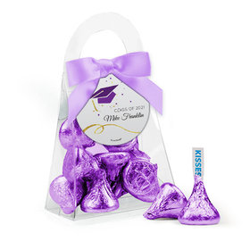 Personalized Purple Graduation Favor Assembled Purse Filled with Hershey's Kisses