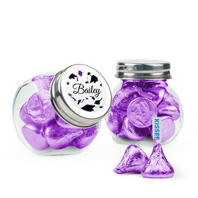 Personalized Purple Graduation Favor Assembled Mini Side Jar Filled with Hershey's Kisses