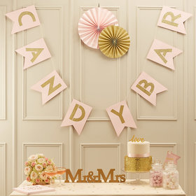 Candy Bar Bunting Banner - Pink & Gold