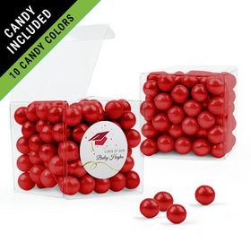 Personalized Red Graduation Favor Assembled Clear Box Filled with Sixlets