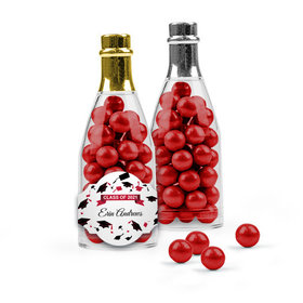 Personalized Red Graduation Favor Assembled Champagne Bottle Filled with Sixlets