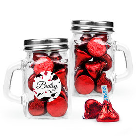 Personalized Red Graduation Favor Assembled Mini Mason Mug Filled with Hershey's Kisses