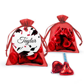 Personalized Red Graduation Favor Assembled Organza Bag Filled with Hershey's Kisses