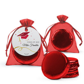 Personalized Red Graduation Favor Assembled Organza Bag Hang tag Filled with Chocolate Covered Oreo Cookie
