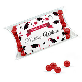Personalized Red Graduation Favor Assembled Pillow Box Filled with Sixlets