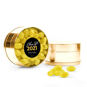 Personalized Yellow Graduation Favor Assembled Small Round Plastic Tin Filled with Just Candy Jelly Beans