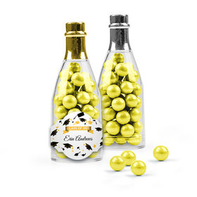 Personalized Yellow Graduation Favor Assembled Champagne Bottle Filled with Sixlets