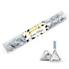 Personalized Yellow Graduation Favor Assembled Clear Tube Filled with Hershey's Kisses