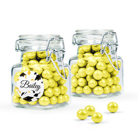 Personalized Yellow Graduation Favor Assembled Swing Top Square Jar Filled with Sixlets