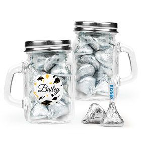 Personalized Yellow Graduation Favor Assembled Mini Mason Mug Filled with Hershey's Kisses
