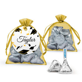 Personalized Yellow Graduation Favor Assembled Organza Bag Filled with Hershey's Kisses
