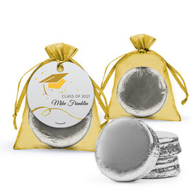 Personalized Yellow Graduation Favor Assembled Organza Bag Hang tag Filled with Chocolate Covered Oreo Cookie