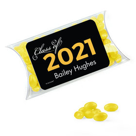 Personalized Yellow Graduation Favor Assembled Pillow Box Filled with Just Candy Jelly Beans