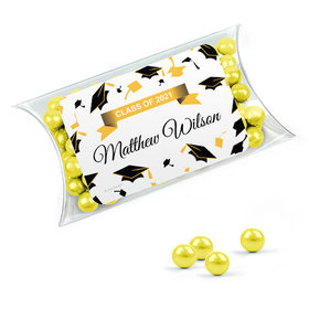 Personalized Yellow Graduation Favor Assembled Pillow Box Filled with Sixlets
