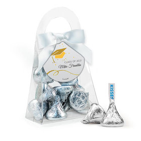 Personalized Yellow Graduation Favor Assembled Purse Filled with Hershey's Kisses