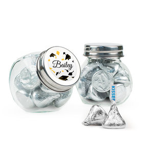 Personalized Yellow Graduation Favor Assembled Mini Side Jar Filled with Hershey's Kisses
