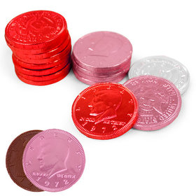 Valentine's Day Milk Chocolate Red, Pink and White Coins (84 Pack)