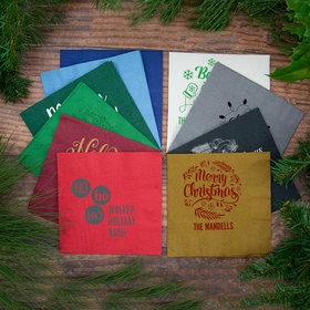 Personalized Christmas 3-Ply Traditional Beverage Napkins