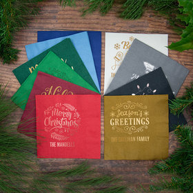 Personalized Christmas Metallic 3-Ply Traditional Lunch Napkins