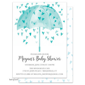 Bonnie Marcus Collection Personalized Heart Shower Invitation - Blue