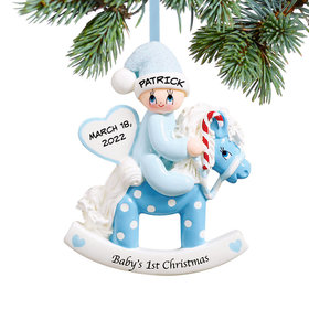 Personalized Baby's 1st Christmas Rocking Horse Blue