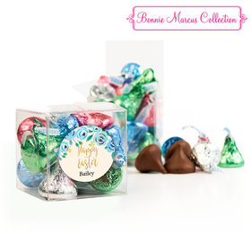 Personalized Easter Blue Flowers Clear Gift Box with Sticker - 12 Spring Mix Hershey's Kisses