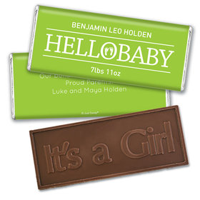Personalized Hello Baby Birth Announcement Hershey's Embossed Chocolate Bar & Wrapper