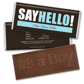 Personalized Say Hello! Baby Boy Birth Announcement Hershey's Embossed Chocolate Bar & Wrapper