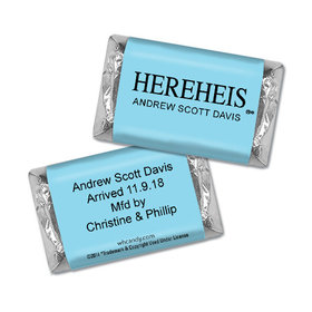"Personalized Hershey's Miniatures - Baby Boy Announcement HEREHEIS ""Here He Is"" Blue"