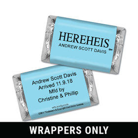 "Personalized Hershey's Miniature Wrappers Only - Baby Boy Announcement HEREHEIS ""Here He Is"" Blue"