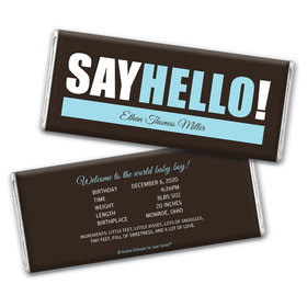 Personalized Say Hello! Baby Boy Birth Announcement Hershey's Chocolate Bar Wrappers