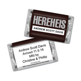 "Personalized Hershey's Miniatures - Baby Boy Announcement HEREHEIS ""Here He Is"""