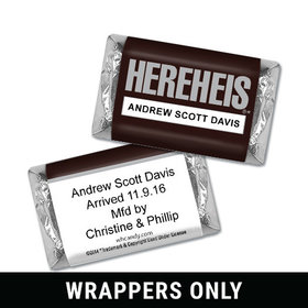 "Personalized Hershey's Miniature Wrappers Only - Baby Boy Announcement HEREHEIS ""Here He Is"""