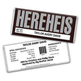 HEREHEIS Classic Baby Announcements Personalized Candy Bar - Wrapper Only