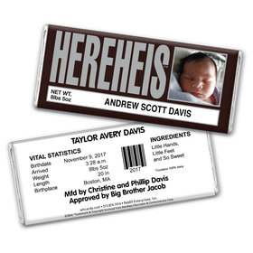 His Classic HEREHEIS Photo Personalized Candy Bar - Wrapper Only