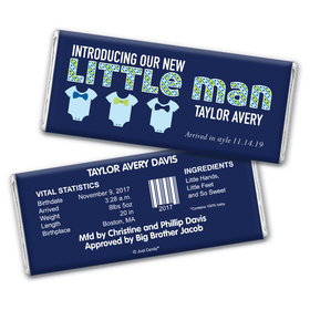 Baby Boy Announcement Personalized Chocolate Bar Wrappers