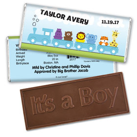 Choo Choo for HimEmbossed It's a Boy Bar Personalized Embossed Chocolate Bar Assembled