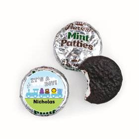 Baby Boy Announcement Personalized Pearson's Mint Patties Animal Safari Train