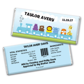 Baby Boy Announcement Personalized Chocolate Bar Animal Safari Train