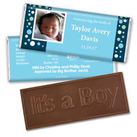 His Snap ShotEmbossed It's a Boy Bar Personalized Embossed Chocolate Bar Assembled