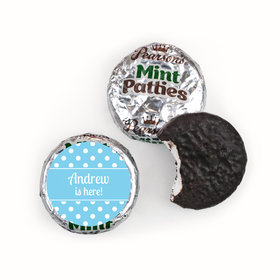 Baby Boy Announcement Personalized Pearson's Mint Patties Polka Dots